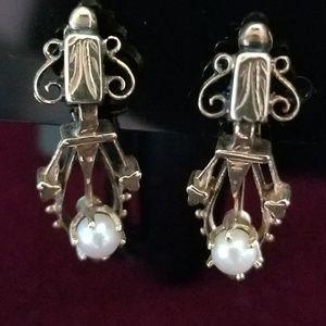 Vintage Seed Pearl Drop Earrings & Matching Pin